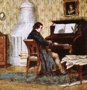 johannes brahms schumann composing at his piano oil painting picture wholesale